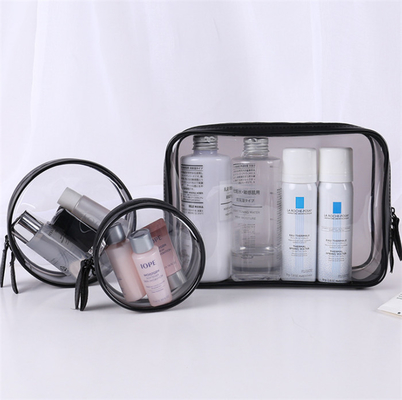 China Flexible 3 Piece Clear Cosmetic Bag Set Good Stability Every Size Available supplier