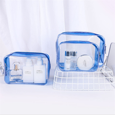 China Personalized PVC Cosmetic Bag , Blue Clear Plastic Cosmetic Zipper Bags supplier