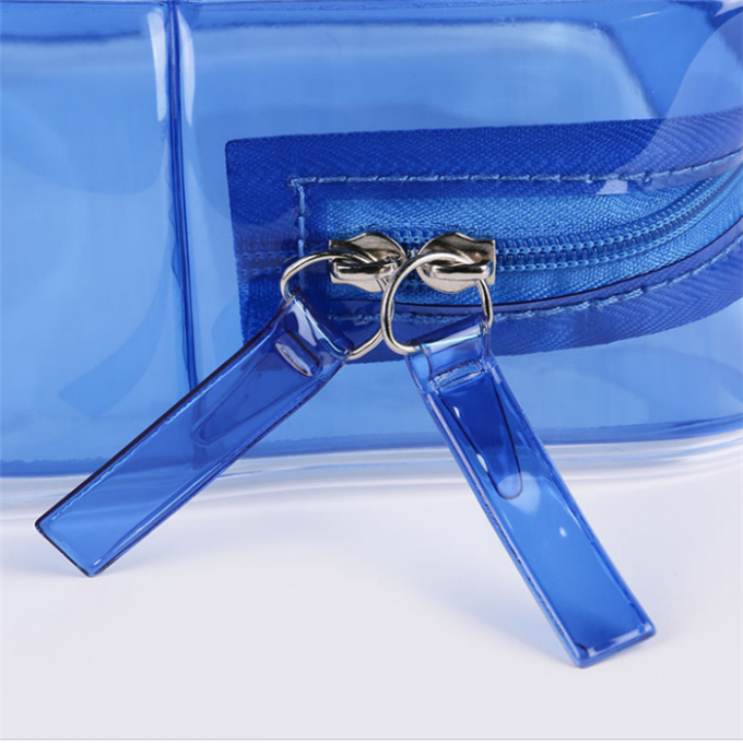 Personalized PVC Cosmetic Bag , Blue Clear Plastic Cosmetic Zipper Bags